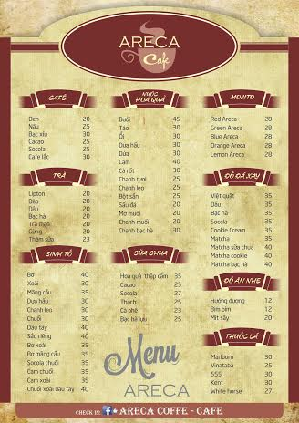 Menu cafe Areca