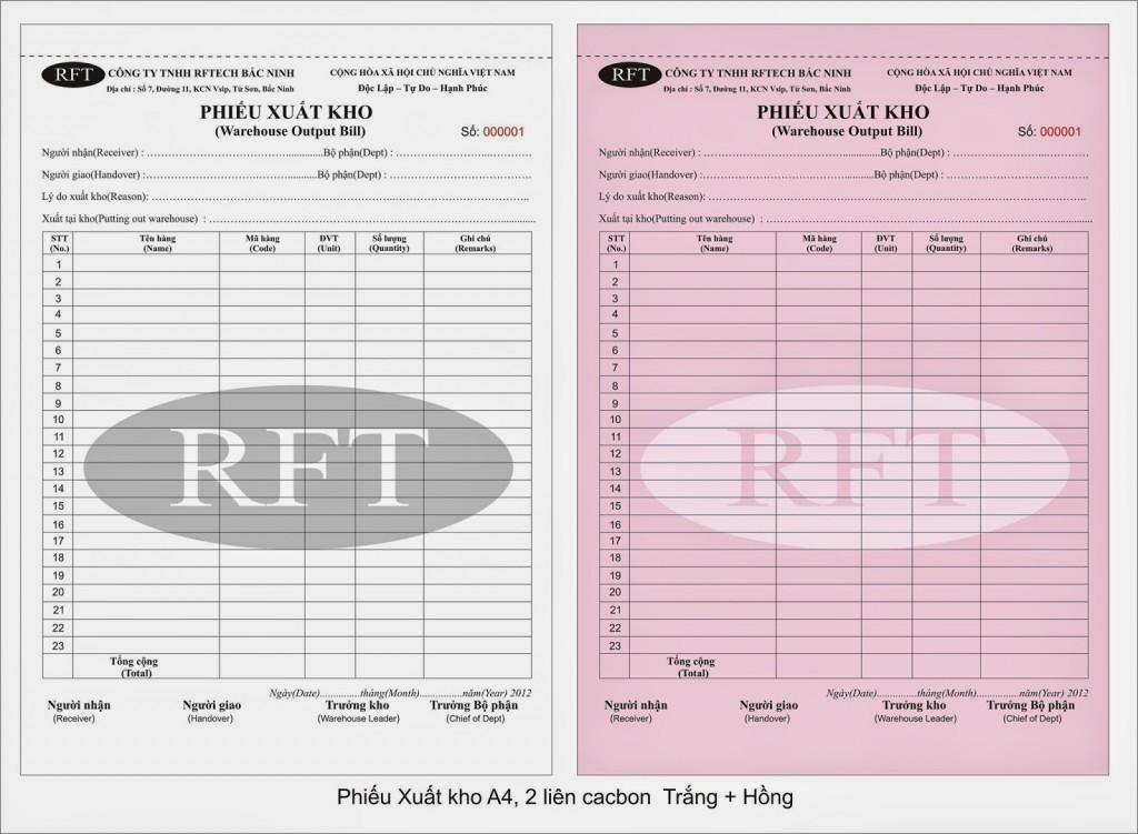 Xưởng in phiếu xuất kho chuyên nghiệp giá rẻ tại Hà Nội