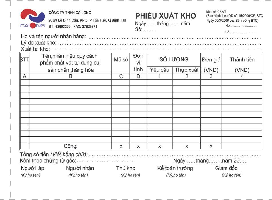 Nhận in phiếu xuất kho giá rẻ tại Hà Nội